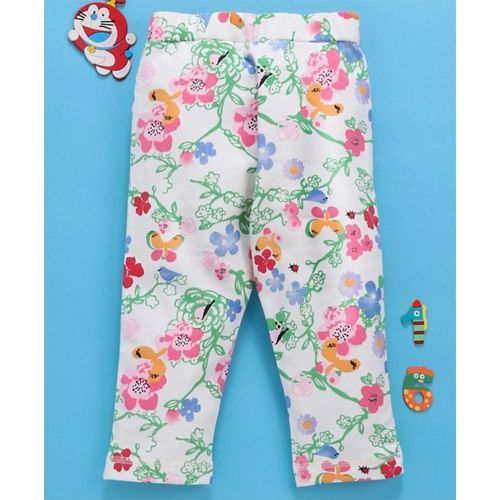 Babyhug Pull Up Pants Floral Print - White