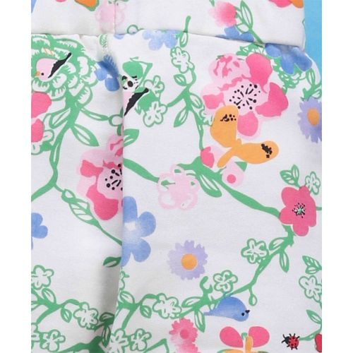 Babyhug Pull Up Pants Floral Print - White