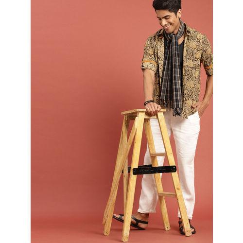 Taavi Men Mustard Yellow & Black Kalamkari Block Printed Casual Shirt with Roll-Up Sleeves