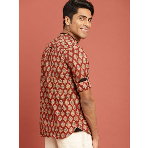 Taavi Men Red & Beige Kalamkari Block Printed Regular Fit Shirt with Roll-Up Sleeves