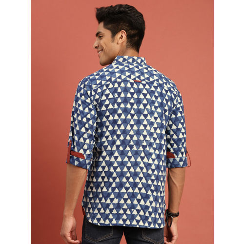 Taavi Men Navy & Off White Indigo Hand Block Printed Casual Shirt with Roll-Up Sleeves