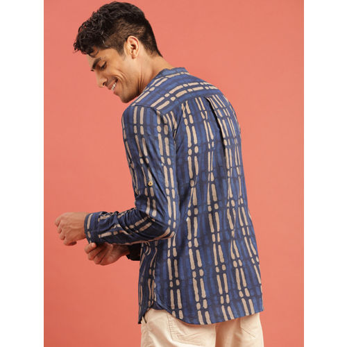 Taavi Men Blue & Beige Indigo Hand Block Print Shirt