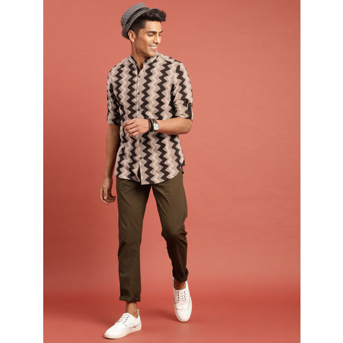 Taavi Men Brown Hand Block Print Legacy Casual Shirt with Roll-Up Sleeves