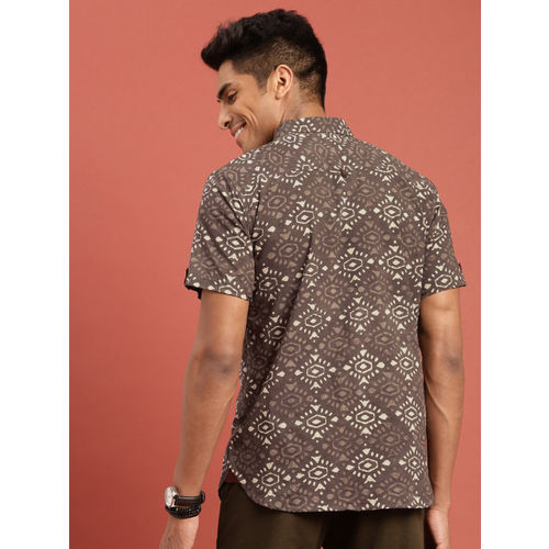 Taavi Men Brown & Off-White Hand Block Print Legacy Casual Shirt with Roll-Up Sleeves