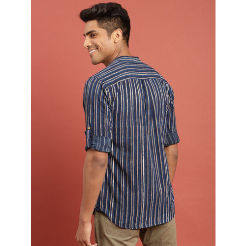 Taavi Indigo Hand Block Printed Casual Shirt with Roll-Up Sleeves