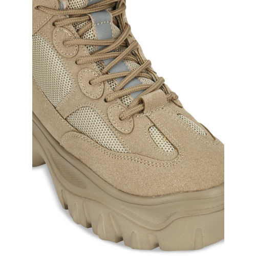 Truffle Collection Women Beige Solid Mid-Top Flat Boots