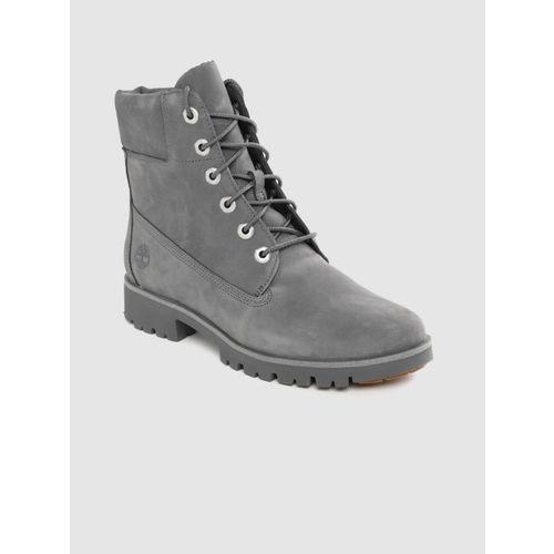 Timberland Women Charcoal Grey Classic Lite 6 Inch Nubuck Flat Boots