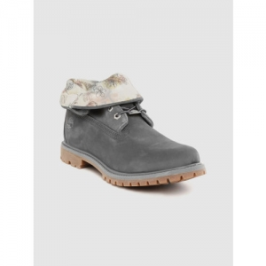 Timberland Women Charcoal Grey Solid Authentics Roll Top Nubuck Boots