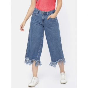 ONLY Women Blue Relaxed Fit Mid-Rise Clean Look Cropped Jeans