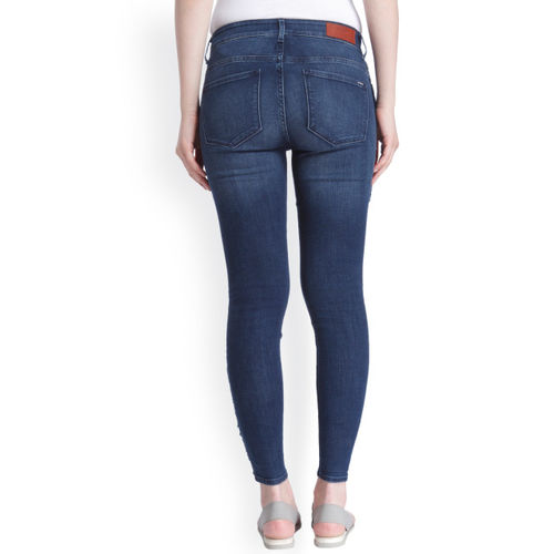 ONLY Women Blue Skinny Fit Mid-Rise Clean Look Stretchable Jeans