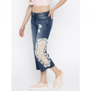 ONLY Women Blue Regular Fit High-Rise Mildly Distressed Jeans