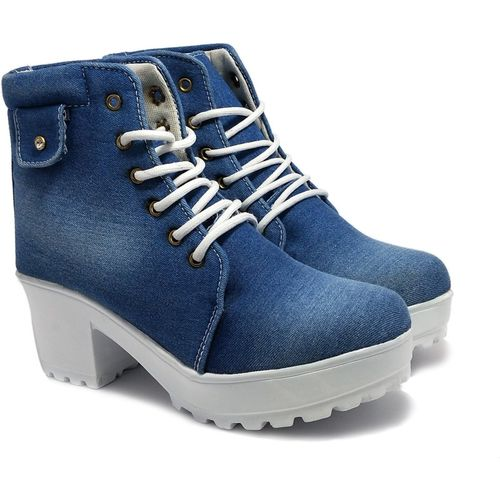Rodricks Shoes For Women's/Ladies/Female/Girls Trendy Fashionable Lightweight Comfortable Partywear, Casual wear Lace-UpCasual Stylish Boots/ Boots For Women(Blue)