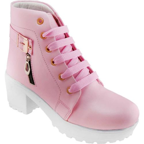 Toshina shoes king Perfect Stylish Girls High Ankle Boots For Women(Pink)