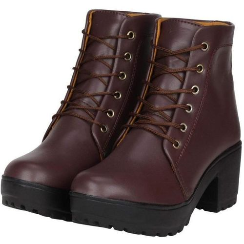 Rodricks Shoes For Women's/Ladies/Female/Girls Trendy Fashionable Lightweight Comfortable Partywear, Casual wear Lace-UpCasual Stylish Boots/ Boots For Women(Brown)