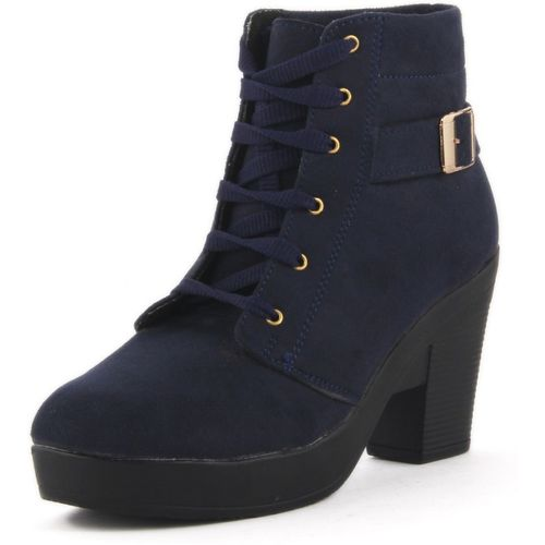 ABJ Fashion Smart Buckle Boots For Women(Blue)