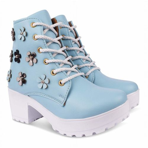 Dicy Synthetic Leather Casual Partywear New Stylish Boots Shoes For Women's And Girls Boots For Women(Blue)