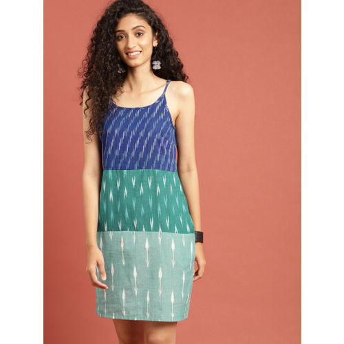 Taavi Women Blue & Green Ikat Woven Design Colourblocked Sheath Dress with Shoulder Straps