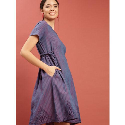 Taavi Women Purple & Blue Hand Block Print Legacy A-Line Dress with Tie-Ups