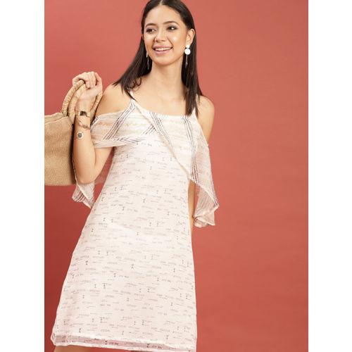 Taavi Women White & Mustard Yellow Hand Block Print Legacy A-Line Cold-Shoulder Dress