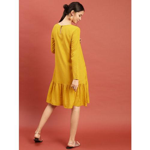 Taavi in Association with Princess Diya Kumari Foundation Mustard Yellow Applique Dress