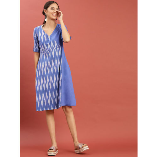 Taavi Women Blue Ikat Woven Design Layered Contrast A-Line Dress with Roll-Up Sleeves