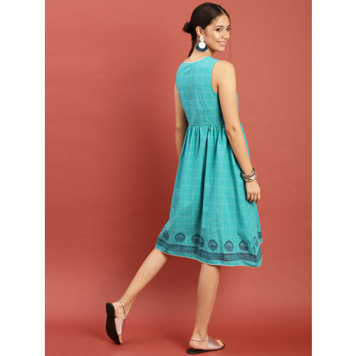 Taavi Women Turquoise Blue Checked Hand Block Print Legacy Dress with Gathers & Tassels