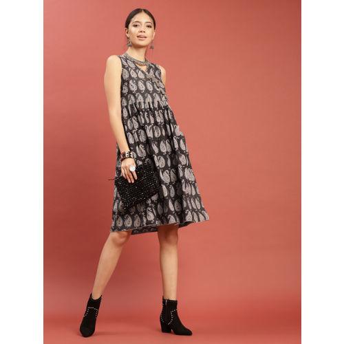 Taavi Women Coffee Brown & Grey Kalamkari Block Print Dress with Tassels & Pockets