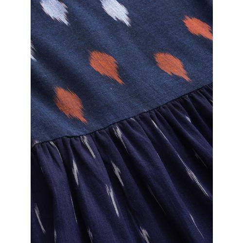 Taavi Women Navy Blue Woven Design Fit & Flare Dress with Contrast Yoke & Hem