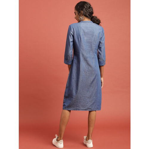 Taavi Women Blue Hand Block Print Legacy Chambray Shirt Dress with Contrast Pocket