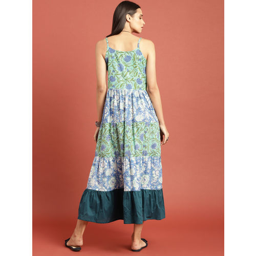 Taavi Women Green & Blue Bagru Hand Block Print Flared Maxi Dress With Gathers