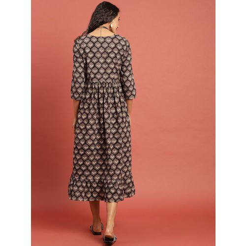 Taavi Women Black & Grey Hand Block Print A-Line Midi Dress with Gathers