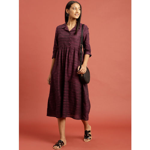 Taavi Women Purple & Black Woven Legacy A-Line Striped Midi Dress with Gathers & Pockets