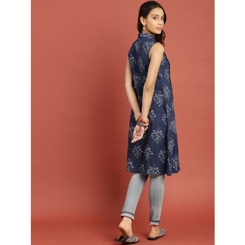 Taavi Women Blue Indigo Hand Block Print A-Line Dress with Pleats & Pockets