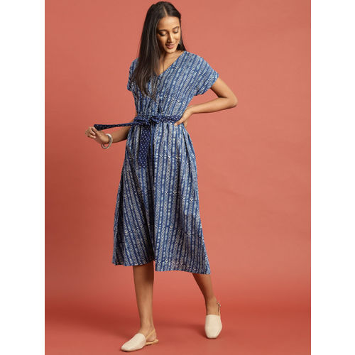 Taavi Women Blue & White Indigo Hand Block Print Fit and Flare Dress with Waist Tie-Ups