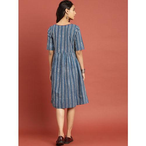 Taavi Women Blue & White Indigo Hand Block Print A-Line Dress with Pockets