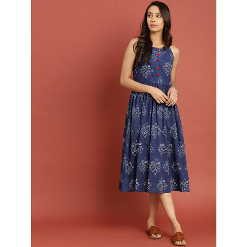 Taavi Women Blue Indigo Hand Block Print A-Line Dress with Gathers Detail