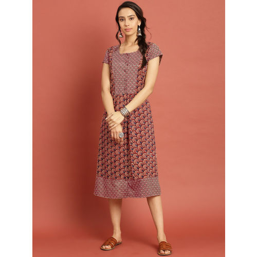 Taavi Women Beige & Rust Orange Ajrakh Hand Block Print A-Line Dress with Button Closure