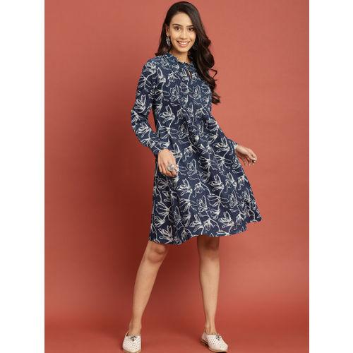 Taavi Women Blue & White Indigo Hand Block Print A-Line Dress with Pleats & Ruffles