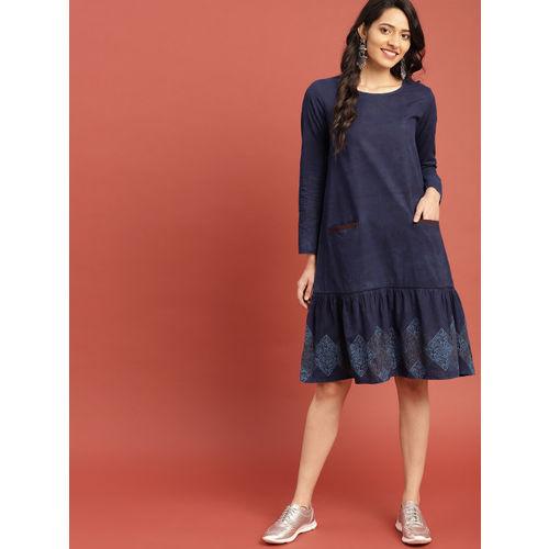 Taavi Women Navy Blue Block Print Legacy A-Line Midi Dress with Pockets & Gathers