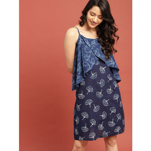 Taavi Women Blue Indigo Legacy A-Line Dress with Layered Detailing