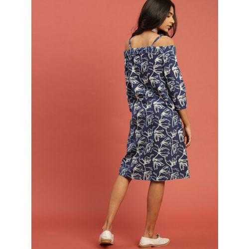 Taavi Women Blue Indigo A-Line Off-Shoulder Dress