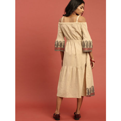 Taavi Women Beige Solid Woven Legacy A-Line Dress with Off-Shoulder Bell Sleeves