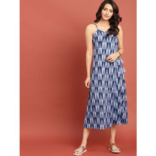 Taavi Women Blue Indigo Ikat A-Line Wrap Midi Dress with Tie-ups