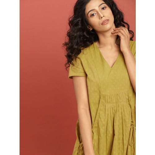 Taavi Women Lime Green South Cotton Woven Legacy A-Line Dress with Pockets
