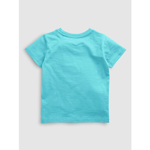 next Boys Turquoise Blue Solid Round Neck T-shirt