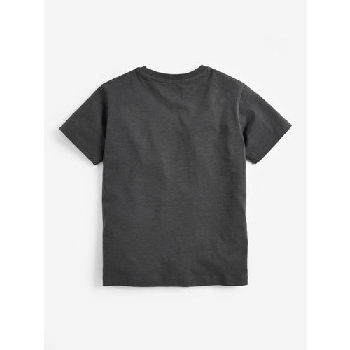 next Boys Charcoal Grey Printed Round Neck T-shirt