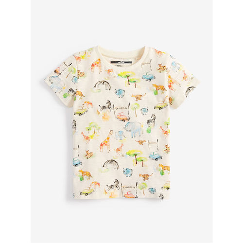 next Boys Cream-Coloured Printed Round Neck T-shirt