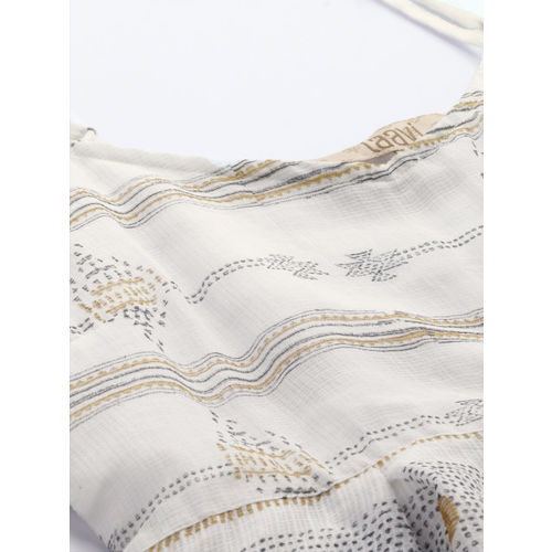 Taavi Women White & Mustard Yellow Hand Block Print Legacy A-Line Top with with Pleats