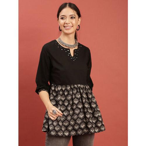 Taavi Women Black & Grey Hand Block Print Legacy Top with Mirror Work & Contrast Print
