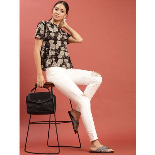 Taavi Women Black & Off-White Hand Block Print Legacy Top with Mirror Work at the Waist